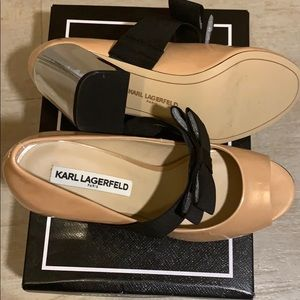 Shoes - NWT Karl Lagerfield beige peep toe shoes with bow